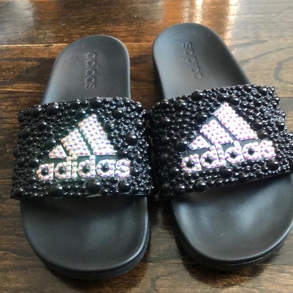 6832bdadd8fe1 Bedazzled Adidas Slides